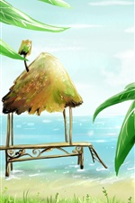 Preview iPhone wallpaper Palm beach cabins sea bird vector painting
