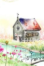 미리보기 iPhone 배경 화면 봄 정원이 아름다운 집 그림