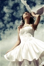 Preview iPhone wallpaper White dress girl under the blue sky