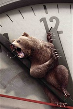 Preview iPhone wallpaper Creative picture of bear on the clock dial