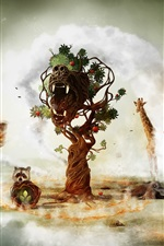 Preview iPhone wallpaper Fantasy art creative animals and tree