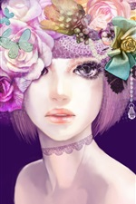 Preview iPhone wallpaper Girl Colorful flowers hair creative