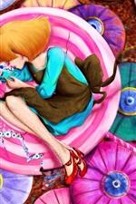 iPhone обои Девушка зонтики искусство