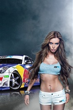 Girl with Nissan 350z Drift car