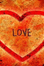 Preview iPhone wallpaper Love heart-shaped red background