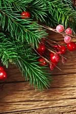 iPhone обои Сосна новогодние ветви и красные декоративные шары