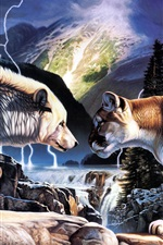 Preview iPhone wallpaper Paintings of wolves and lions duel