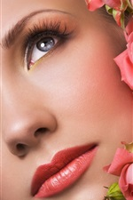 Preview iPhone wallpaper Rose buds face make-up girl