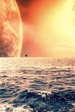Preview iPhone wallpaper The red planet on the sea horizon