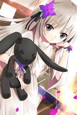 Preview iPhone wallpaper Anime girl with toy dog