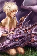 Art menina loira com o dragão