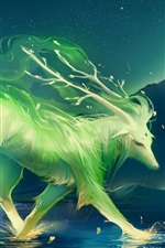 Preview iPhone wallpaper Art of painting a green animal