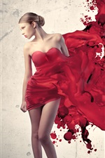 Preview iPhone wallpaper Draw the girl's red dress