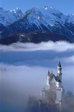German landscape, castle in the clouds