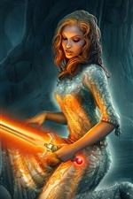 Holding a orange lightsaber fantasy girl
