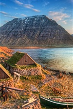 Preview iPhone wallpaper Iceland Mountain Sea Coast Boat