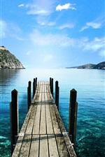 Preview iPhone wallpaper Mountain lake walkway