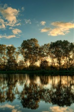 Preview iPhone wallpaper Schleswig Holstein landscape, Tree reflection in water