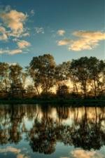 Schleswig Holstein landscape, Tree reflection in water