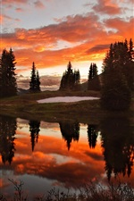 Beauty of the red sunset sky and lake