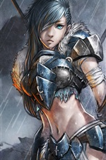 Preview iPhone wallpaper Blue eyes fantasy girl warrior