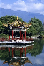 Preview iPhone wallpaper Chinese landscape, a pavilion on the park lake
