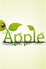 Preview iPhone wallpaper Creative apple leaf ladybug drops