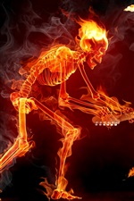 Preview iPhone wallpaper Flame Skull guitarist speaker