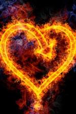 미리보기 iPhone 배경 화면 불꽃은 심장 모양의 사랑