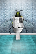 Preview iPhone wallpaper Flies in the toilet reading the newspaper