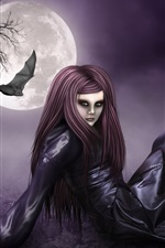Preview iPhone wallpaper Full moon night of the red-haired fantasy girl