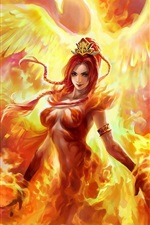 Preview iPhone wallpaper Phoenix flame girl