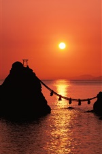 Preview iPhone wallpaper Red dusk sea in Japan