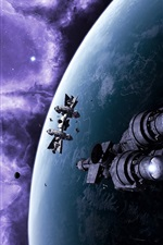 Preview iPhone wallpaper Spaceships in space