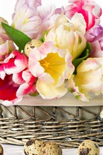 Preview iPhone wallpaper Tulips and quail eggs in the basket
