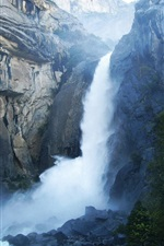 Preview iPhone wallpaper Yosemite National Park California USA, cliff waterfall