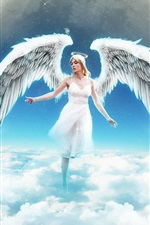 Preview iPhone wallpaper Angel girl on the sky, clouds