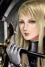 Preview iPhone wallpaper Blond girl warrior fantasy
