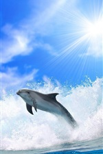 Preview iPhone wallpaper Chase dolphins and sea waves