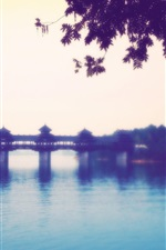 Preview iPhone wallpaper Chinese township River Bridge landscape