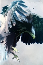 Preview iPhone wallpaper Creative painting, the mighty eagle