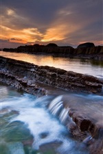 Preview iPhone wallpaper Dusk beauty of the water ladder