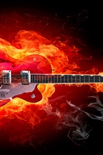 Preview iPhone wallpaper Fire guitar creative