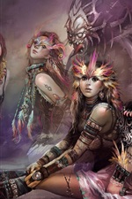 Five fantasy girls and monster
