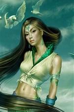 Pombos acompanhado na menina fantasia verde