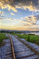 Preview iPhone wallpaper Railroads at sunset