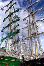 Sailboat docked at the pier