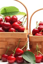 Preview iPhone wallpaper Two baskets of red cherries