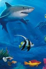 Preview iPhone wallpaper Underwater world, sharks