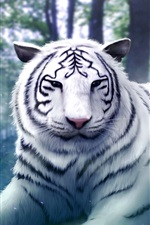 Preview iPhone wallpaper Wizard girl with the white tiger